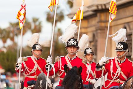 BARCELONA, SPAIN - JANUARY 5, 2014: Cabalgata de Reyes Magos in Barcelona, Spain.  Horse retinue