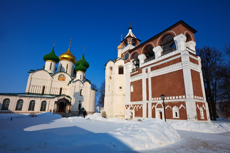 build in: Cathedral of the Transfiguration (build in 16 century)  of Saviour-Euthimiev monastery  at Suzdal in winter. Russia