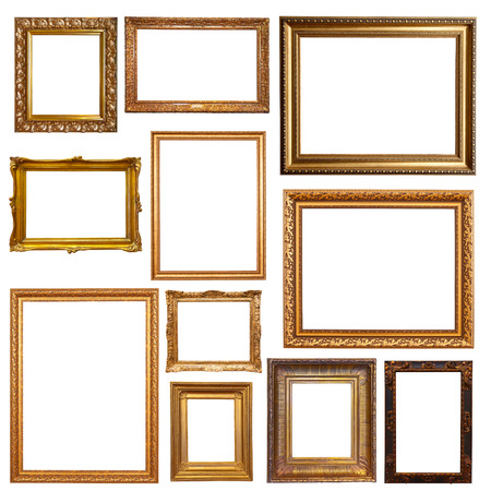 Old gold picture  frames. Isolated on white 스톡 콘텐츠