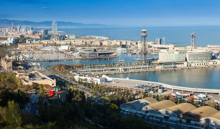 horizont: Port  of Barcelona from Montjuic. Catalonia
