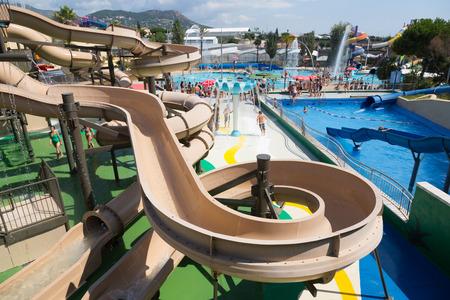 VILASSAR DE DALT, SPAIN - AUGUST 30, 2014: Water slide at Illa Fantasia Barcelonas Water Park