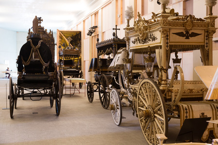 hearse: BARCELONA, SPAIN - JULY 20, 2014: Vintage hearses in Catafalque Museum  in Barcelona, Spain Editorial