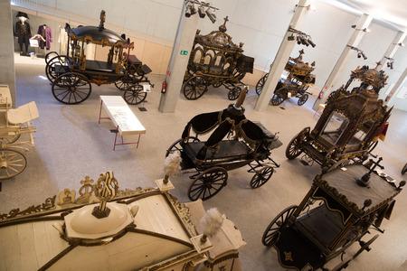 hearse: BARCELONA, SPAIN - JULY 20, 2014: Interior of Museu de Carrosses Funebres in Barcelona, Spain.  Vintage hearses