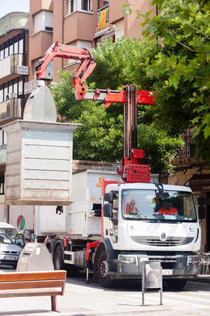 BARCELONA, SPAIN - JUNE 23:  Recycling truck picking up bins in June 23, 2013 in Barcelona, Spain