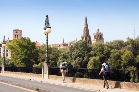 camino: LOGRONO, SPAIN - JUNE 28, 2014: Pilgrims walking along  Camino de Santiago in Logrono. La Rioja, Spain