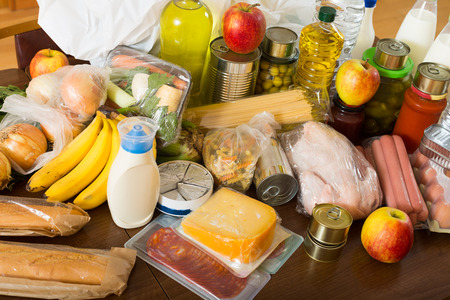 articles: View at table with articles of foods Stock Photo