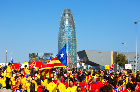 independency: BARCELONA, SPAIN - SEPTEMBER 11, 2014: Rally demanding independence for Catalonia in 300th anniversary of loss of independence. Barcelona