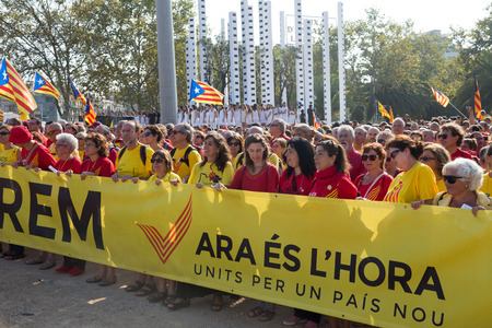 independency: BARCELONA, SPAIN - SEPTEMBER 11, 2014: Rally demanding independence for Catalonia in 300th anniversary of loss of independence