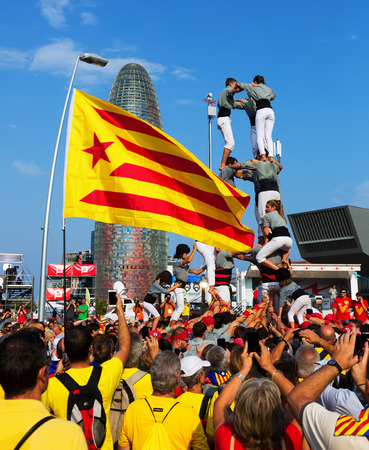 independency: BARCELONA, SPAIN - SEPTEMBER 11, 2014: Traditionally Catalan show - Castell in National Day of Catalonia Editorial