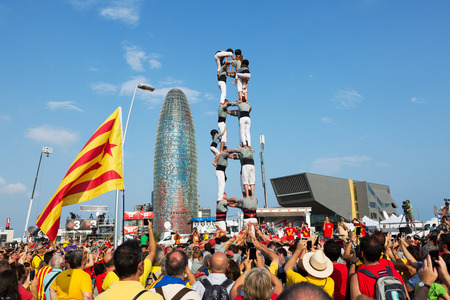 independency: BARCELONA, SPAIN - SEPTEMBER 11, 2014: Castell show in The National Day of Catalonia in Barcelona. 300th anniversary of  loss of independence of Catalonia  Editorial