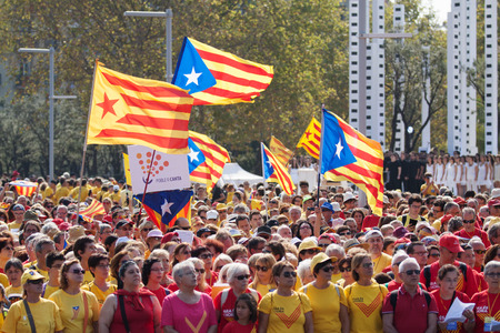 independency: BARCELONA, SPAIN - SEPTEMBER 11, 2014: Rally demanding independence for Catalonia (National Day of Catalonia) in Barcelona, Spain