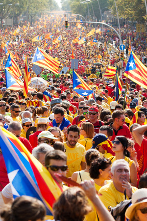 independency: BARCELONA, SPAIN - SEPTEMBER 11, 2014:  Rally demanding independence for Catalonia  (Diada Nacional de Catalunya) in 300th anniversary of loss of independence of Catalonia in Barcelona. Spain