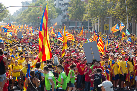 independency: BARCELONA, SPAIN - SEPTEMBER 11, 2014: People at  rally to 300th anniversary of the loss of independence of Catalonia  in Barcelona, Spain
