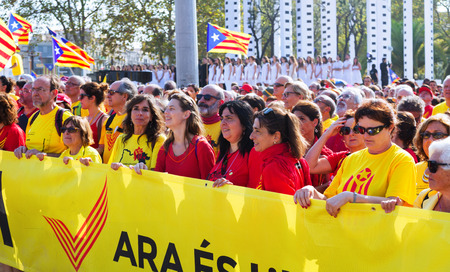 independency: BARCELONA, SPAIN - SEPTEMBER 11, 2014: Rally demanding independence for Catalonia in Barcelona, Spain