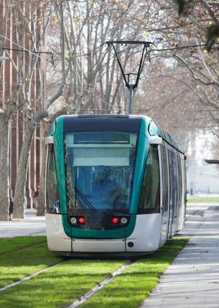 tramcar: Ordinary tramway on street in Barcelona