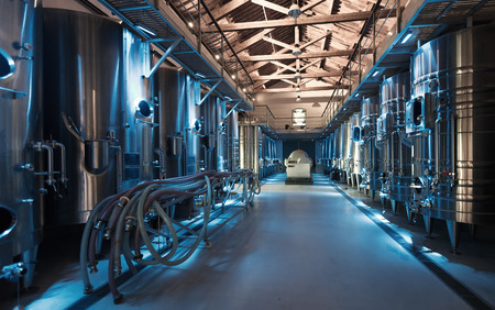interior photo of contemporary winemaker factory