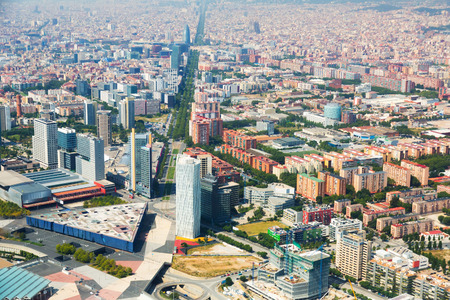 바르셀로나, 스페인의 공중보기입니다. 레지던스 지구 및 애비뉴 디아 고날 스톡 콘텐츠