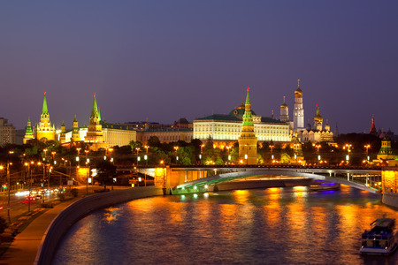 moskva river: Kind to the Moscow Kremlin  and   Moskva River in night. Russia Stock Photo