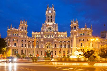 palacio de comunicaciones:   Palacio de Cibeles in summer evening. Madrid, Spain