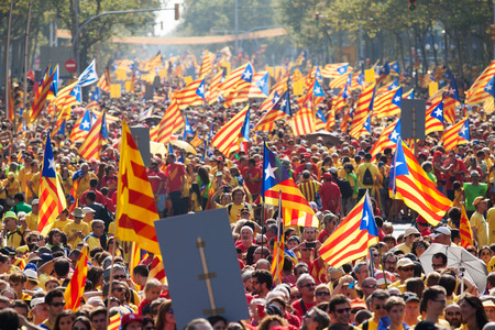 independency: BARCELONA, SPAIN - SEPTEMBER 11, 2014: People at rally demanding independence for Catalonia