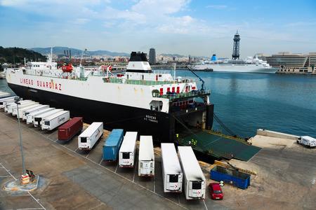 seabus:  BARCELONA, SPAIN - AUGUST 1, 2014: Ferry at Port Vell.  Barcelona, Spain
