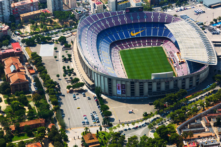 BARCELONA, SPAIN - AUGUST 1, 2014: Aerial view of Camp Nou -  stadium of FC Barcelona