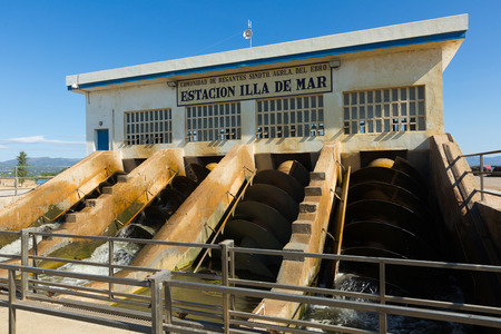 ebre: EBRO DELTA, SPAIN - AUGUST 13, 2014: Water control station at delta of Ebro river. Spain
