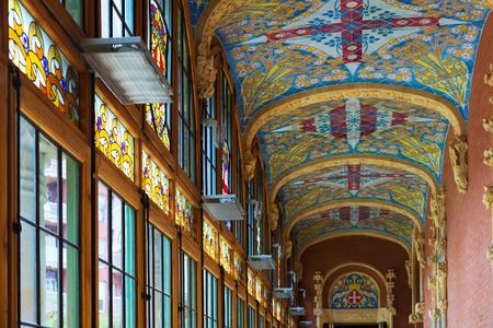 BARCELONA, SPAIN   SEPTEMBER 13, 2014: Interior Of Hospital Of Holy Cross  And
