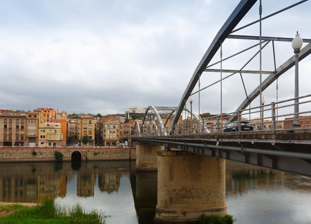 ebre: Day view of Pont de lEstat over over Ebre in Tortosa, Spain