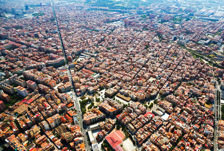 Aerial view of Sants-Montjuic residential district from helicopter. Barcelona Stock Photo