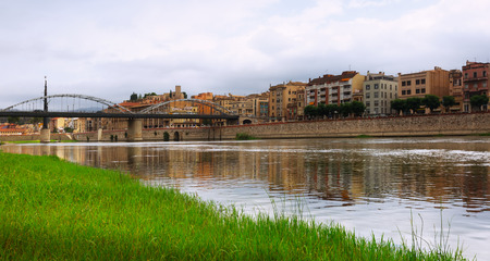 ebre: Day view of Ebre river in Tortosa, Spain