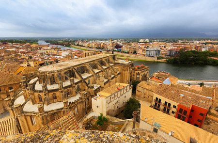 ebre: Top view of Tortosa from Suda castle. Spain Stock Photo