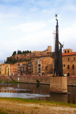 ebre:  view of Ebre  in Tortosa, Spain. Monument to  Battle of the Ebro at river Stock Photo