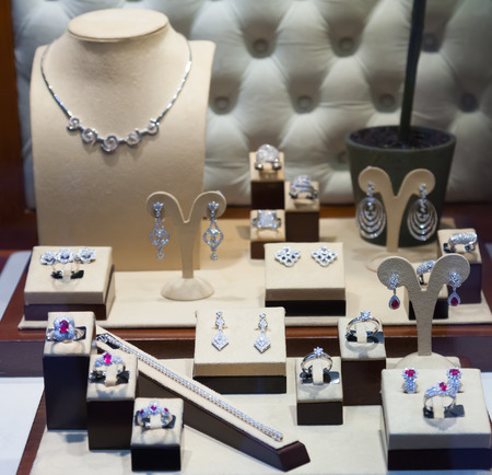 silver jewelry at  jewelry store
