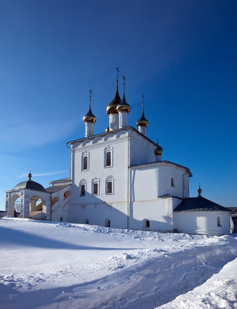 build in: Trinity Cathedral (build in 1681-1689)  at  Holy Trinity Monastery of St. Nicholas monastery at Gorokhovets in winter. Russia