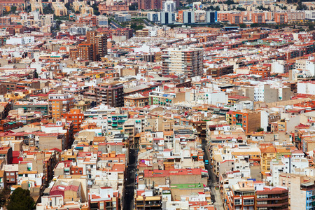 castle district: Day general view of Alicante cityscape from Castle.   Spain Editorial