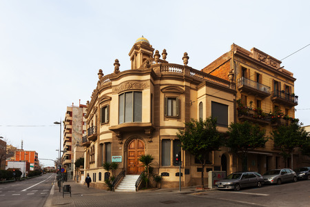 3rd century: BADALONA, SPAIN - FEBRUARY 16, 2014: Old picturesque house in Badalona, Spain.  City was founded by the Romans in the 3rd century BC.  Population: 220,977 (2012 Census) Editorial