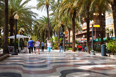 residents: ALICANTE, SPAIN - APRIL 14, 2014: People at Paseo Explanada de Espana in Alicante. Place for walking residents and vacationers Editorial