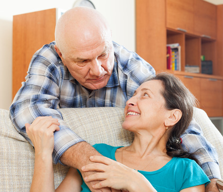 beloved: mature man with beloved wife in home