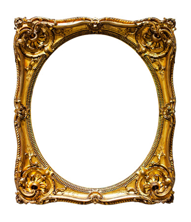 oval gold picture frame. Isolated over white background Stok Fotoğraf