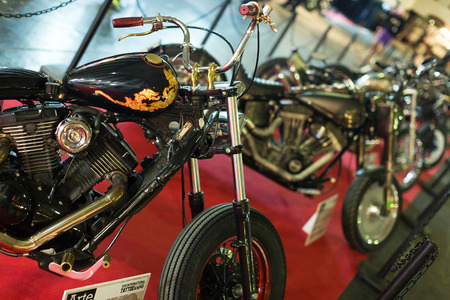 BARCELONA, SPAIN - OCTOBER 3, 2014: Motorcycles at exhibition. The 17th edition of The Barcelona Tattoo Expo