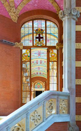 Marvelous BARCELONA, SPAIN   SEPTEMBER 13, 2014: Stained Glass Window In Interior Of