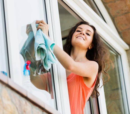 beaty: Beaty housewife cleaning windows with rag and smiling