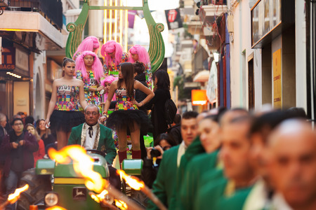 mummery: SITGES, CATALONIA - MARCH 5, 2014: Procession of burial Carnestoltes  - Burial of the Sardine in Sitges Editorial