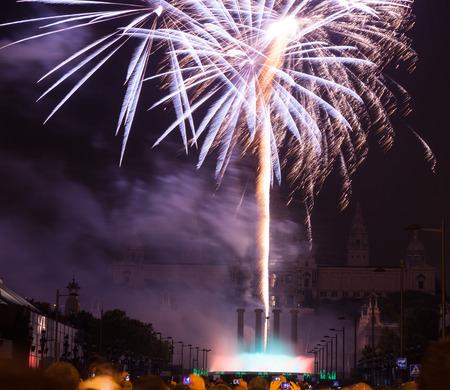 merce: BARCELONA, CATALONIA - SEPTEMBER 24: Fireworks 24, 2013 in Barcelona, Catalonia. Light and music show at closing ceremonies of La Merce Festival