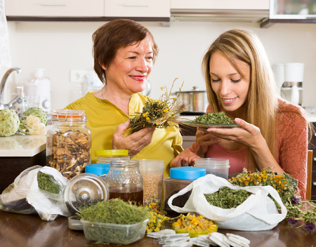 concoct: Happy mother and adult daughter sitting at the table with herbal tea and herbs