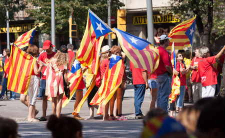 independency: BARCELONA, SPAIN - SEPTEMBER 11, 2014:  Rally demanding independence for Catalonia  (Diada Nacional de Catalunya) in 300th anniversary of loss of independence of Catalonia. Barcelona