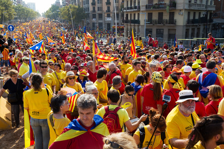 independency: BARCELONA, SPAIN - SEPTEMBER 11, 2014: The National Day of Catalonia in Barcelona, Spain
