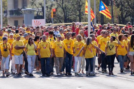independency: BARCELONA, SPAIN - SEPTEMBER 11, 2014: Rally demanding independence for Catalonia (Diada Nacional de Catalunya) in Barcelona, Spain