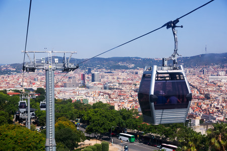 montjuic: Montjuic  Cable Car in Barcelona. Spain Editorial